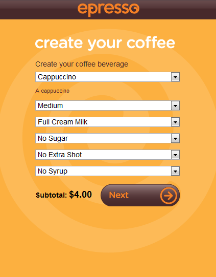 Order coffee from your nearest Cafe over the net! - coffee ordering over the internet or mobile phone - epresso